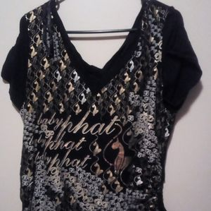 Women's gold black white and  baby phat top